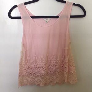 Pink lace cropped tank